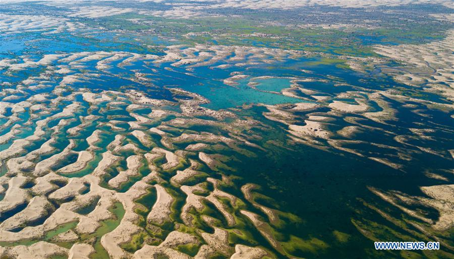 Aerial view of wetland in China's Inner Mongolia