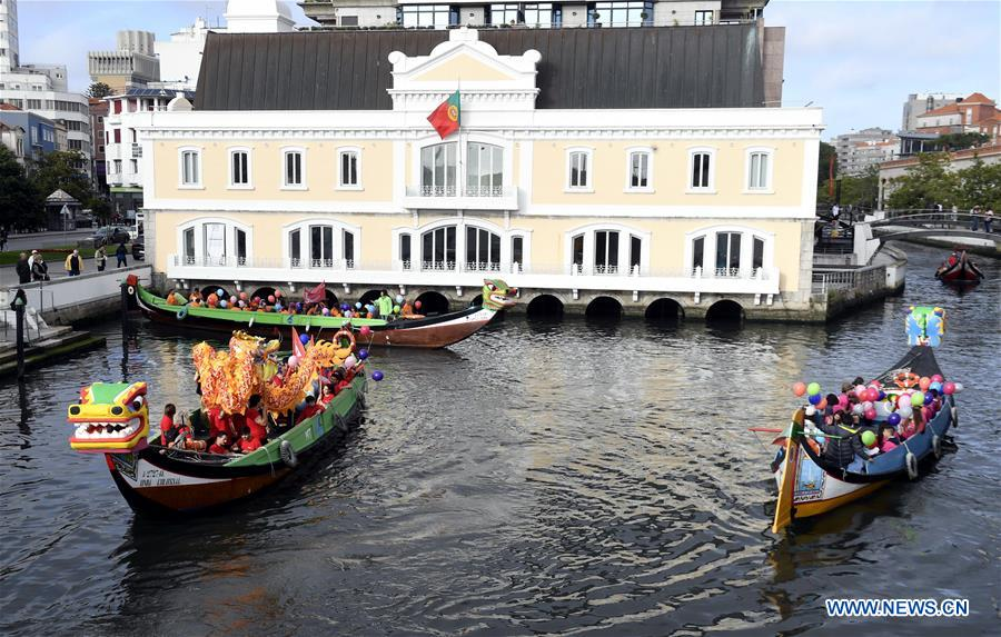Dragon boat sailing event held in Aveiro, Portugal