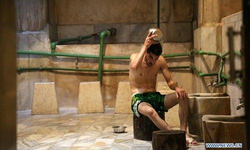 Palestinians enjoy traditional Turkish steam bath in Gaza City
