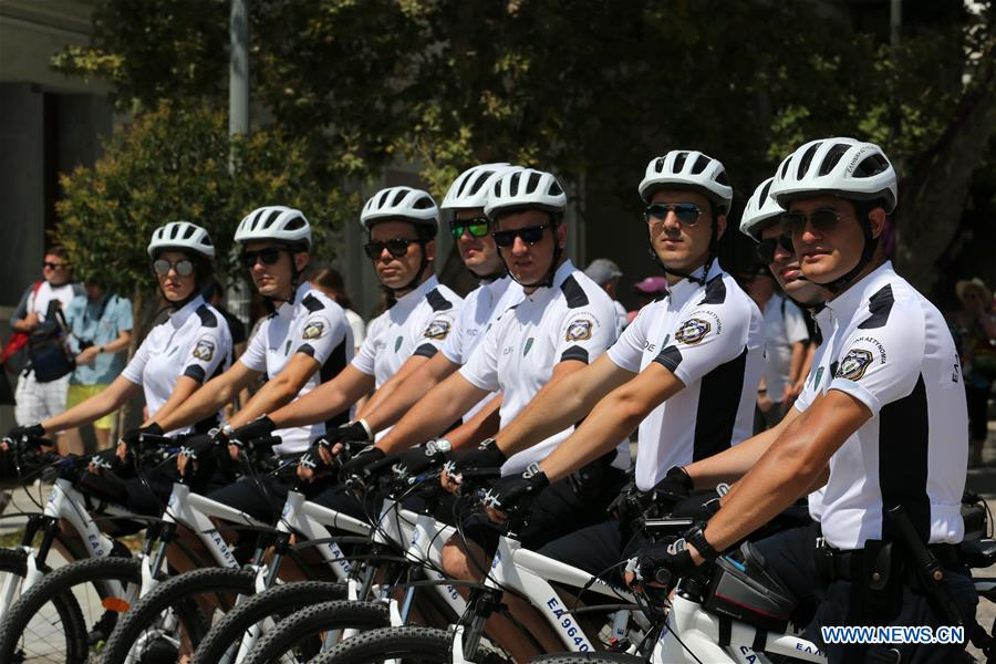 Daily life of Greek bicycle police team in Athens