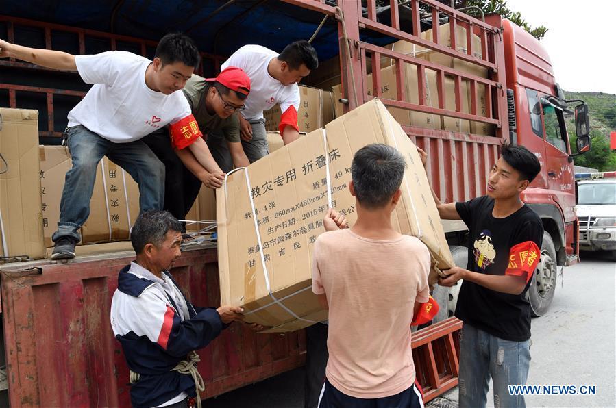 Rescue work underway in flooded areas in Zhouqu County, China's Gansu