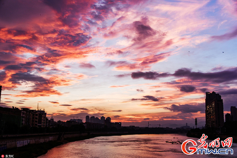 Stunning scenery of morning glow after typhoon in E China's Jiangxi Province