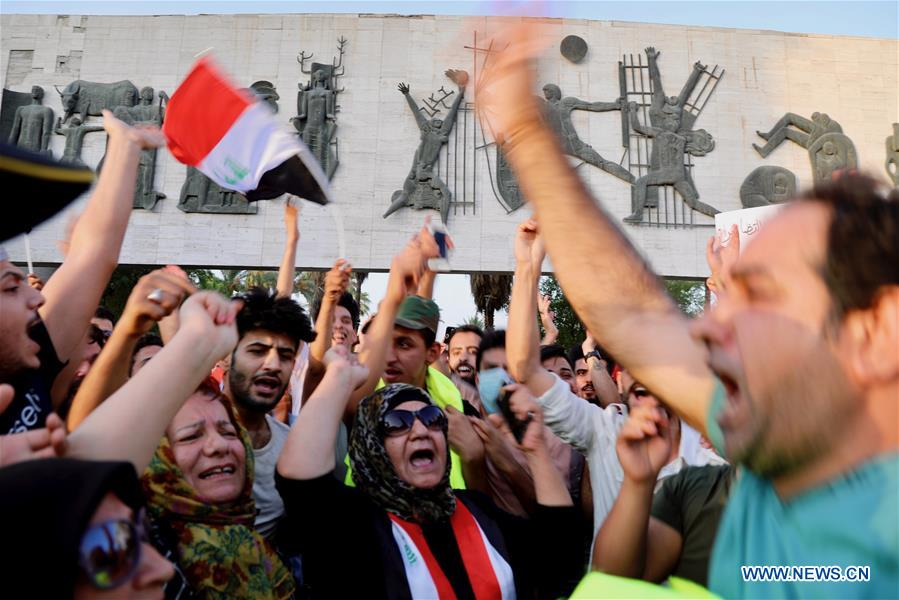 Protesters gather at Tahrir Square in Baghdad, Iraq
