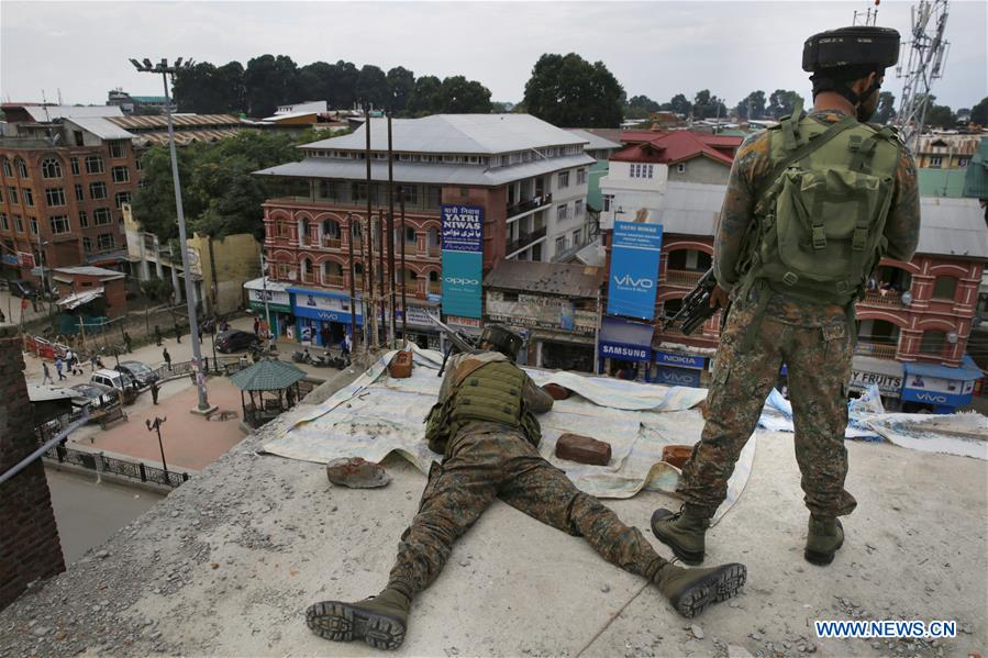 Indian paramilitary troopers guard in Srinagar, summer capital of Indian-controlled Kashmir