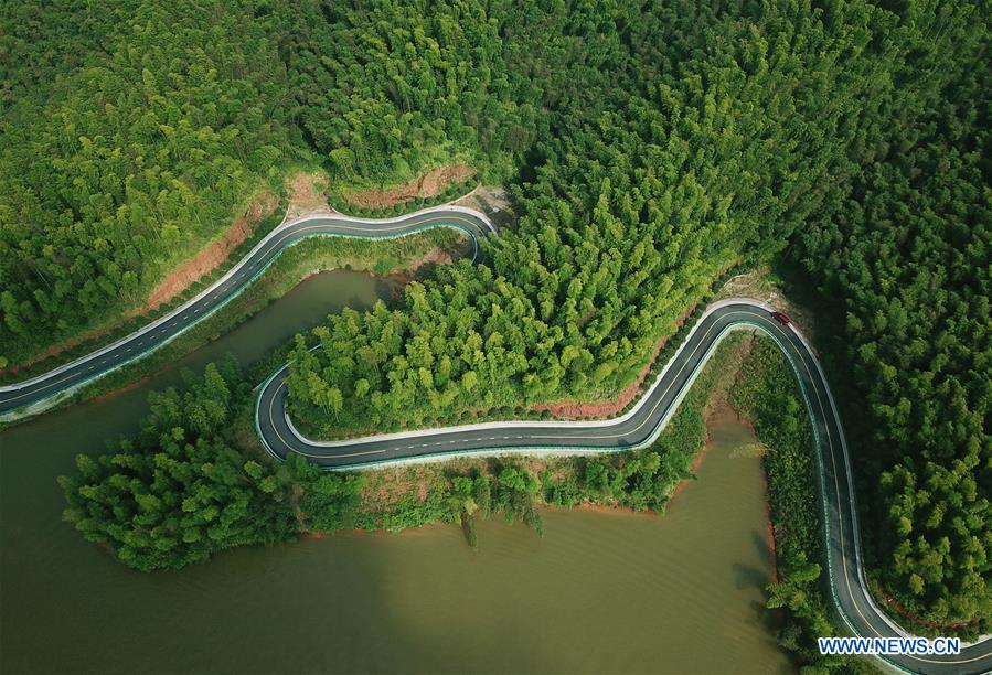 Aerial view of Zhuhai state forest park in Chishui City, SW China's Guizhou
