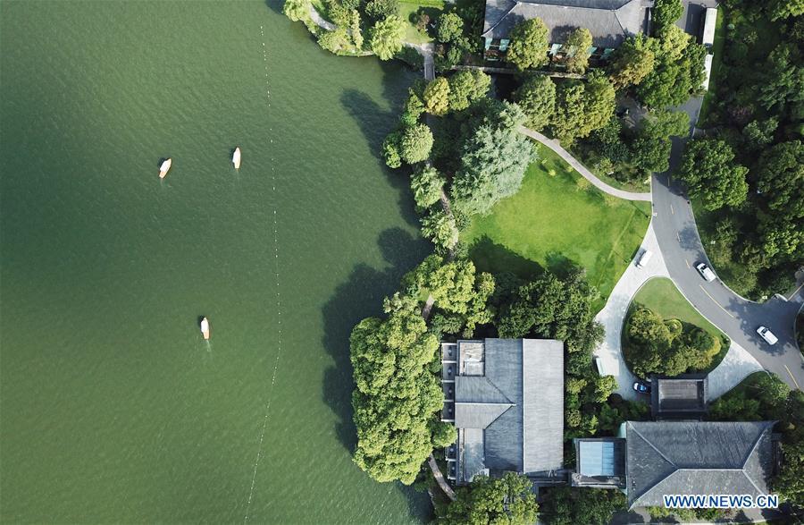 Aerial view of West Lake scenic area in Hangzhou, E China's Zhejiang