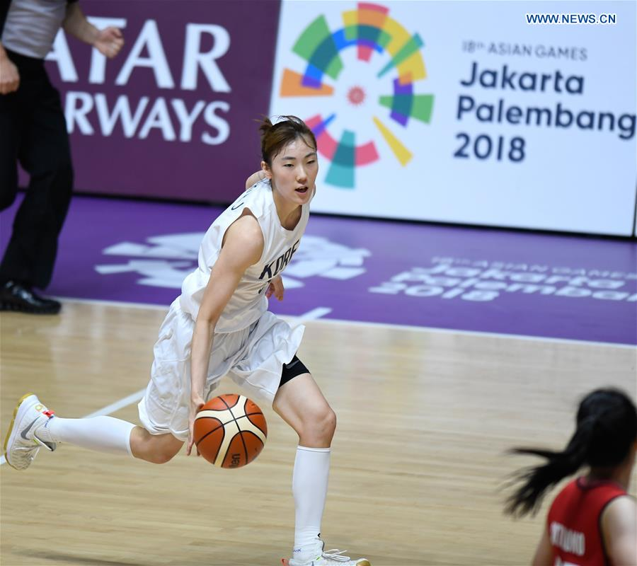 Unified team of DPRK and South Korea beats Indonesia 108-40 at women's basketball 5x5 match during Asian Games 2018