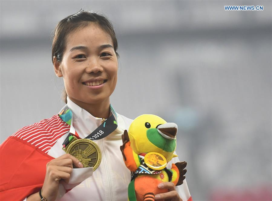 Awarding ceremony of women's long jump final of athletics at Asian Games