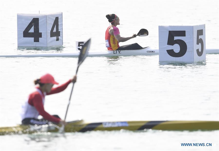 Li Yue of China wins women's Kayak Single (K1) 500m at Asian Games