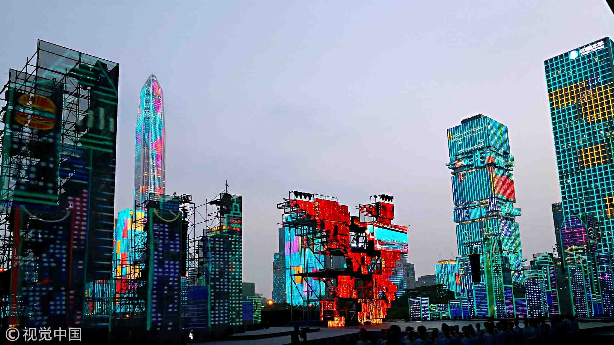 Shenzhen celebrates China's 40th anniversary of reform and opening up with light show