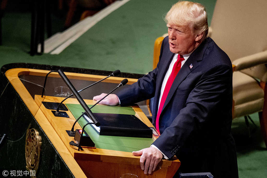 U.S. President Donald Trump addresses the United Nations General Assembly on September 25, 2018 in New York City, NY, USA. [File photo: ABACAPRESS.COM/Robin Utrecht]