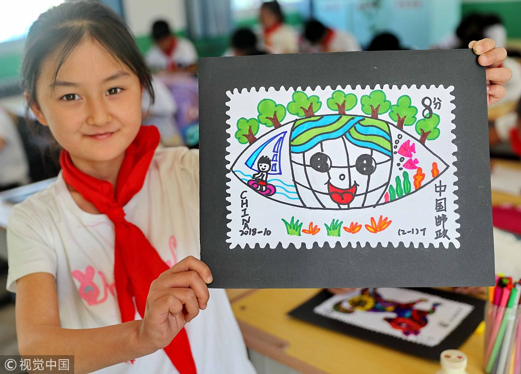 Primary school students design stamps to celebrate World Post Day
