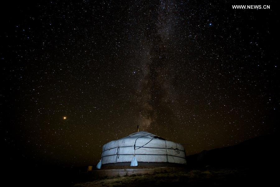 Starry sky over Hustai National Park in Mongolia