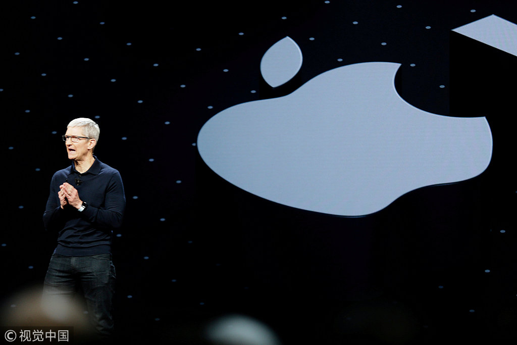Apple Chief Executive Officer Tim Cook speaks at the Apple Worldwide Developer conference (WWDC) in San Jose, California, U.S., June 4, 2018.[File Photo:VCG]