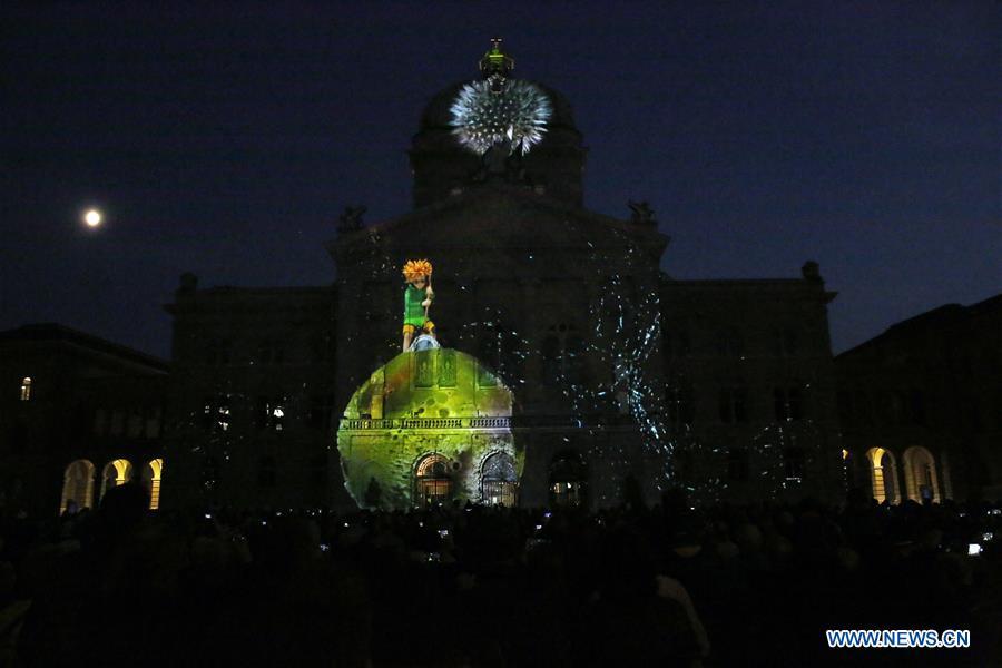 Light show Rendez-vous Bundesplatz held in Bern, Switzerland