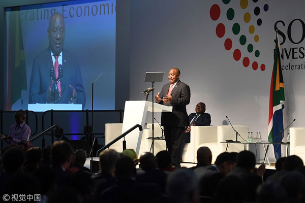 South African President Cyril Ramaphosa attends the South African Investment Conference on October 26, 2018 in Johannesburg, South Africa. [Photo: VCG]