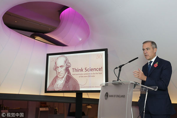 Bank of England Governor Mark Carney speaks during the announcement of the new polymer £50 note, at the Science Museum, Kensington, London. The new £50 note will feature a prominent British scientist, and members of the public are being asked to come up with nominations. [Photo: VCG]