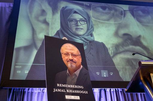 A video image of Hatice Cengiz, fiancee of slain Saudi journalist Jamal Khashoggi, is played during an event to remember Khashoggi, who was killed inside the Saudi Consulate in Istanbul on Oct. 2, in Washington. [File photo:AP]