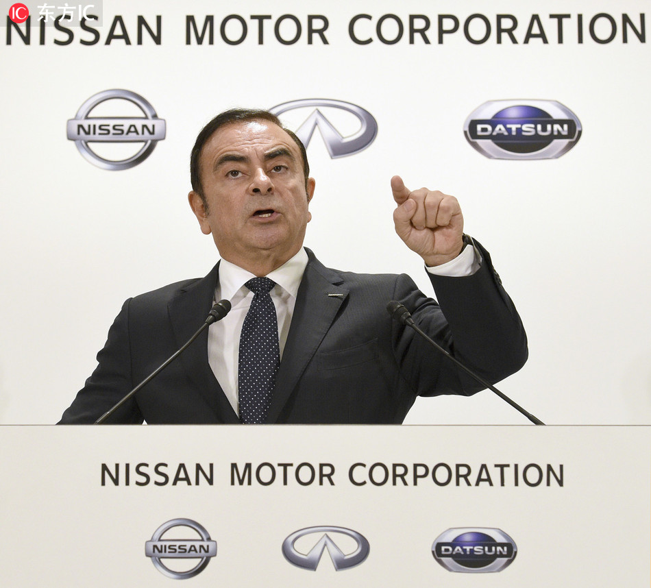 Carlos Ghosn, president and chief executive officer of Nissan Motor Co. speaks at a press conference in Minato ward, Tokyo on October 20, 2016.[File Photo: IC]
