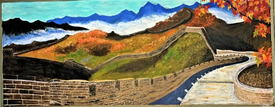 """Wu's painting """"The Great Wall"""" took her a week to finish, and was kept for three years. [Photo: thepaper.cn]"""