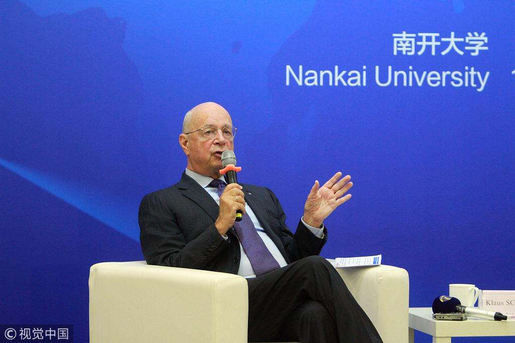 World Economic Forum (WEF) Executive Chair and founder Klaus Schwab addressing students in Nankai University in Tianjin, September 18th, 2018. [Photo: VCG]