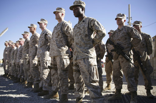 In this Jan. 15, 2018 file photo, U.S. Marines stand guard during the change of command ceremony at Task Force Southwest military field in Shorab military camp of Helmand province, Afghanistan. The Pentagon is developing plans to withdraw up to half of the 14,000 American troops serving in Afghanistan, U.S. officials said Thursday, Dec. 20, 2018, marking a sharp change in the Trump administration's policy aimed at forcing the Taliban to the peace table after more than 17 years of war.[File Photo:AP]