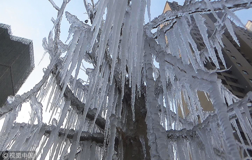 Water spray create crystal trees by accident