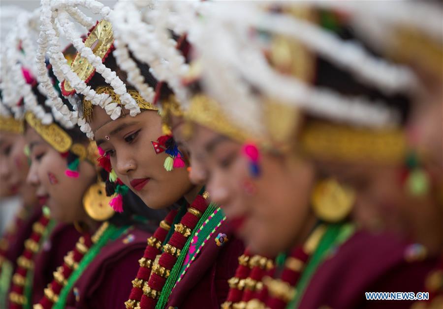 Girls from Gurung community take part in Tamu Lhosar festival parade in Nepal