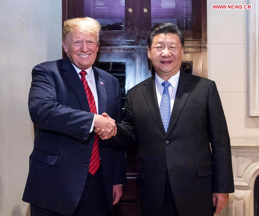 Chinese President Xi Jinping (R) meets with his U.S. counterpart Donald Trump in Buenos Aires, Argentina, Dec. 1, 2018. [Photo: Xinhua/Li Xueren]