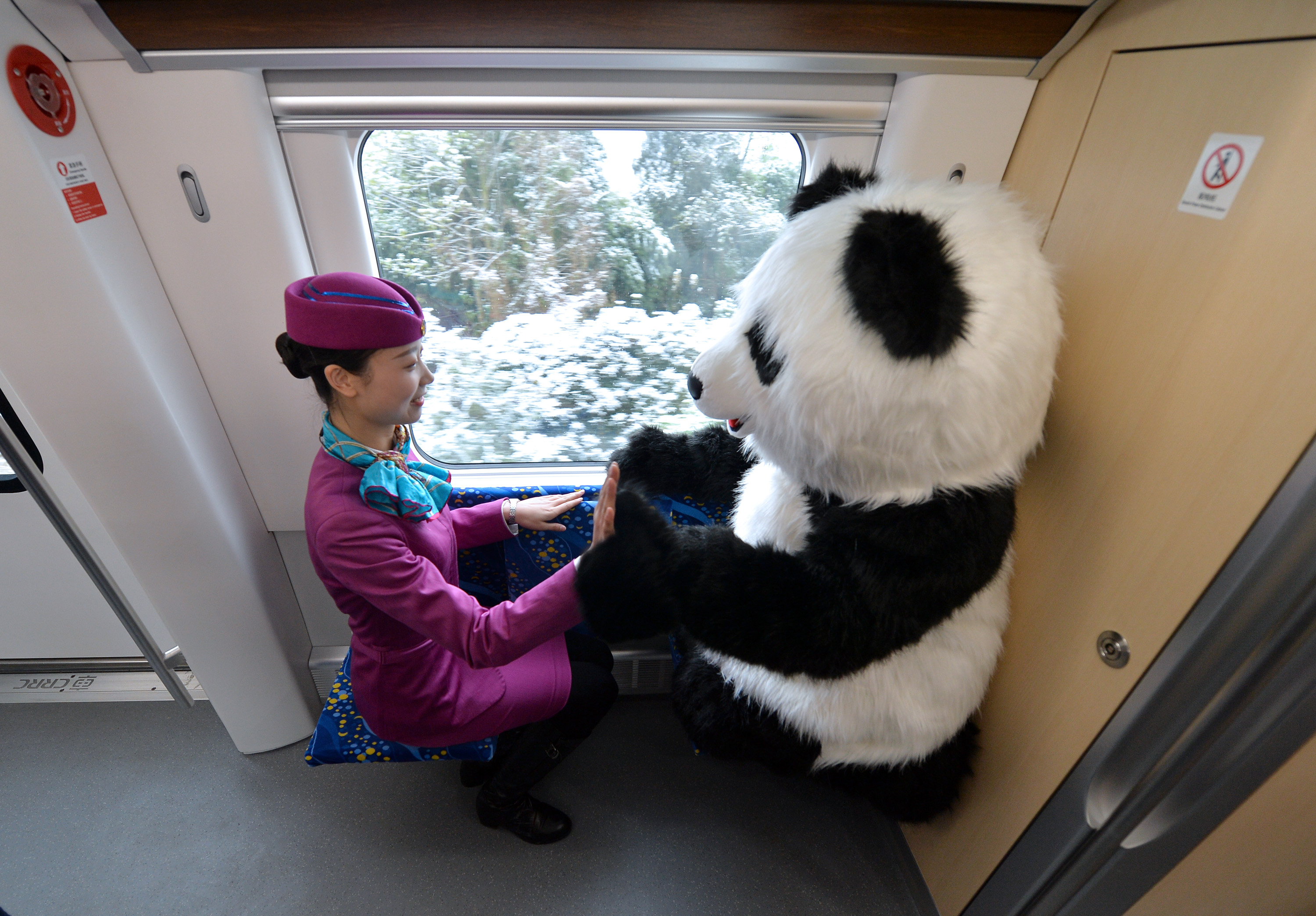 """A train attendant """"high fives"""" the train's panda mascot on Tuesday, December 29, 2018. [Photo: IC]"""