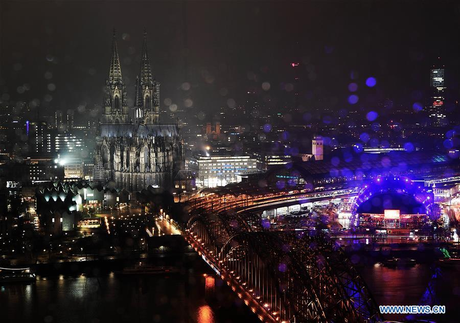 Night view of Cologne Cathedral in Germany