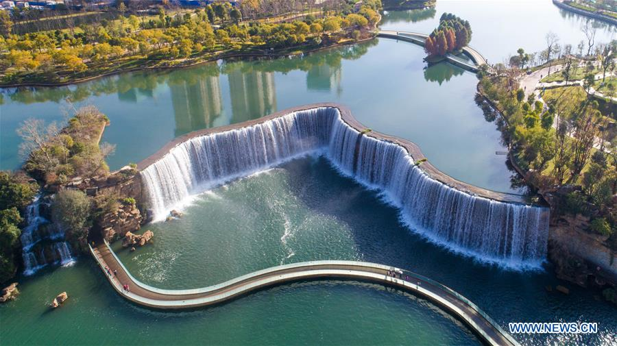 Scenery of Kunming Waterfall Park in SW China's Yunnan