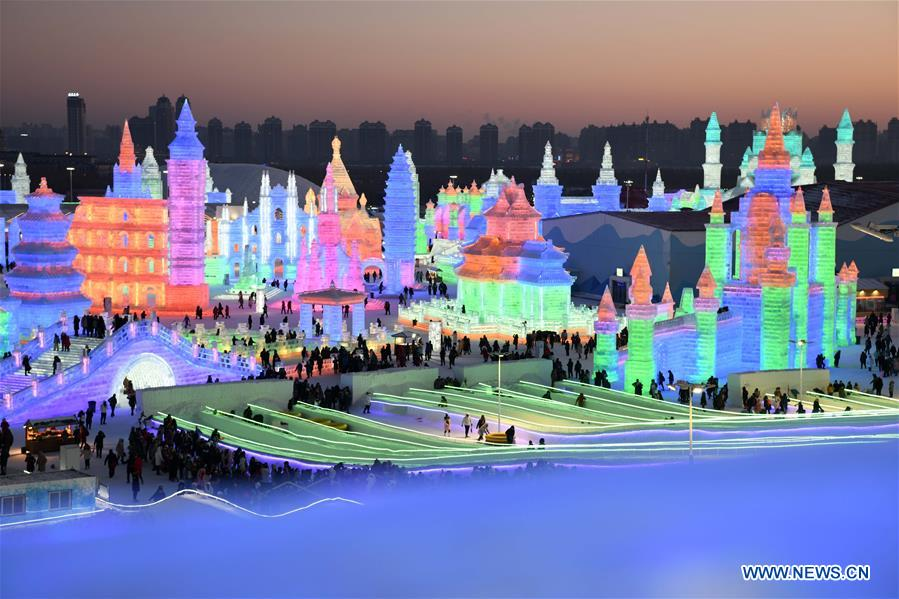 Tourists visit Ice-Snow World in Harbin