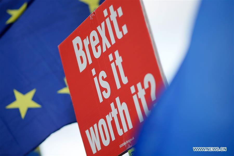 Pro and anti-brexit demonstrators hold placards in London