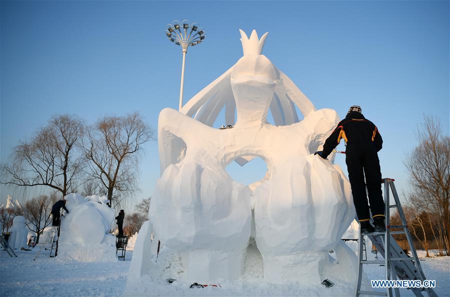 Snow sculptures shine in NE China's Harbin