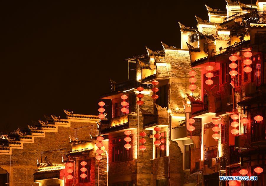 Night scenery of Zhenyuan ancient city, China's Guizhou