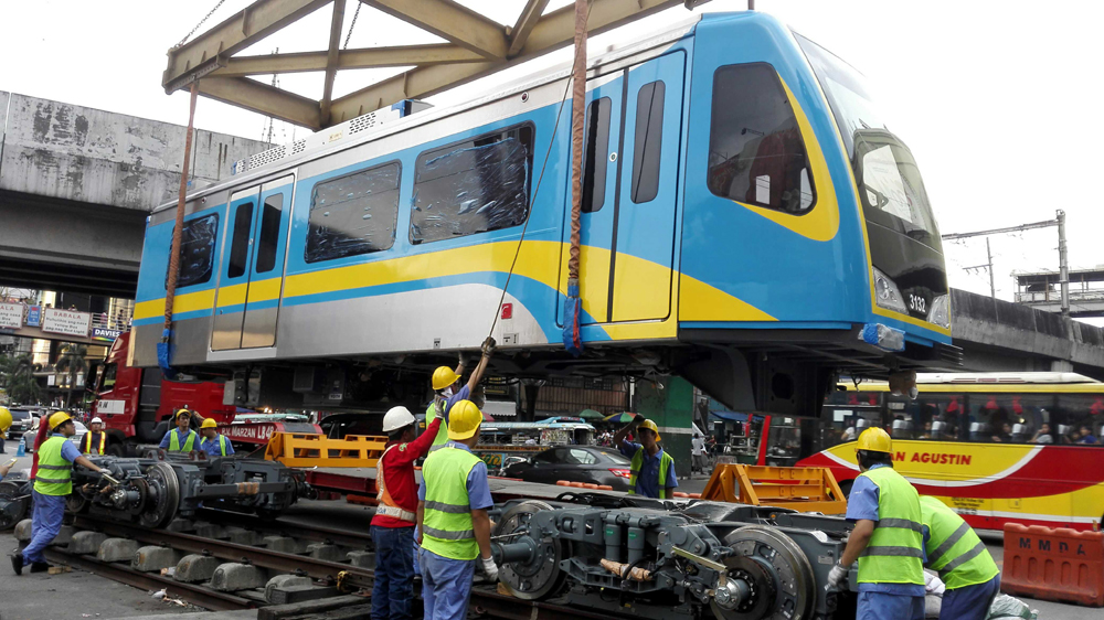 A train produced by China's CRRC Dalian is delivered to the Ministry of Transport of the Philippines in Manila, January 14, 2017. [File photo: IC]