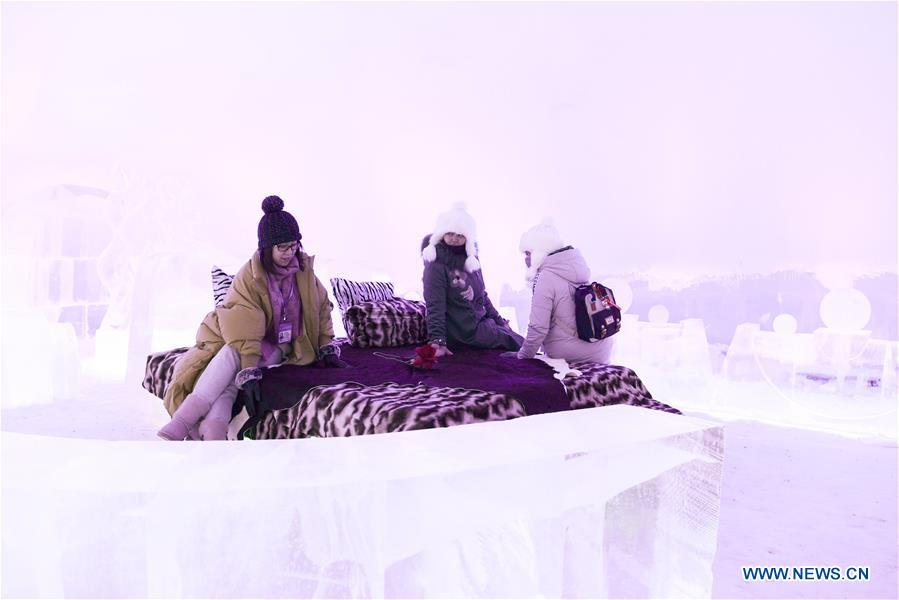 People visit ice bar in Harbin's Ice-Snow World
