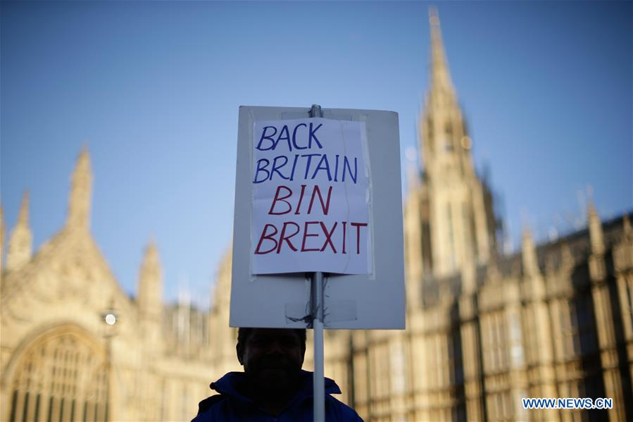 People protest outside Britain's House of Parliament in London