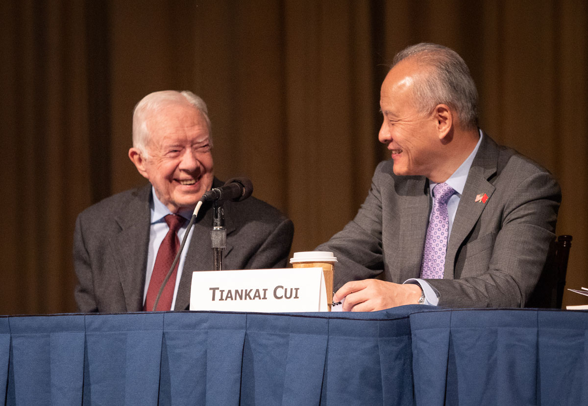 Former U.S. President Jimmy Carter and Chinese Ambassador Cui Tiankai attended a symposium convened by The Carter Center on Sino-American relations on Friday, January 18, 2019 in Atlanta, United States.[Photo: China Plus/Liu Kun]