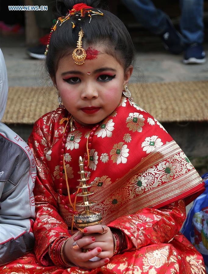 Girls from Newar community attend Bel Bibaha ceremony in Nepal