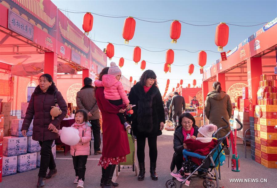 People visit market for Spring Festival shopping in N China's Hebei