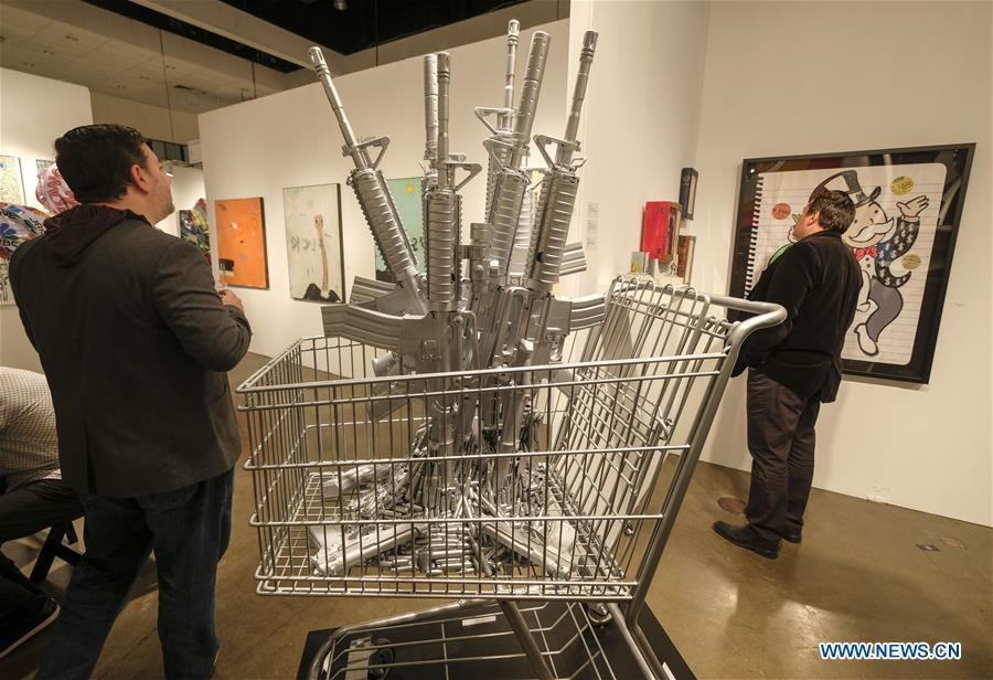 People visit 24th Annual LA Art Show in Los Angeles