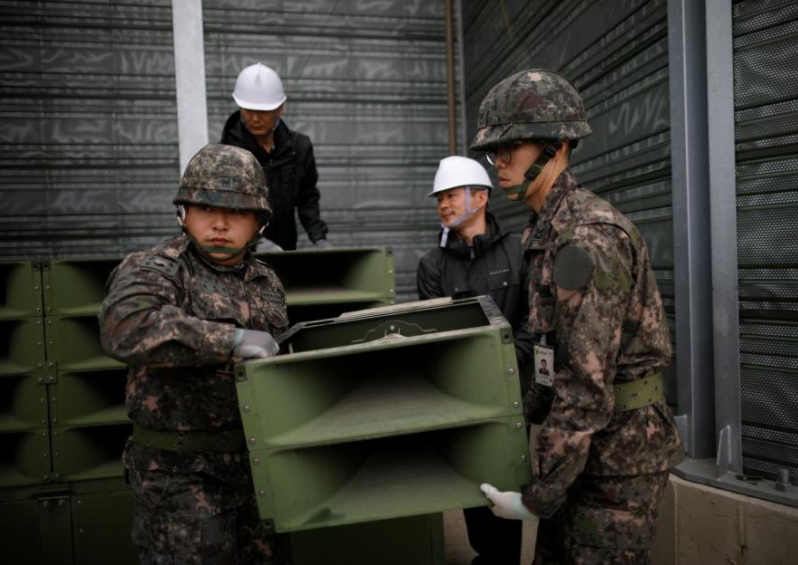 North and South Korea start to dismantle border speakers, fulfilling summit pledge