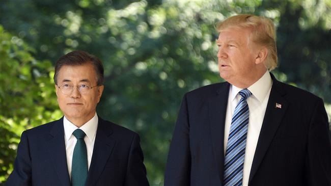 """Trump says had a 'long and very good talk' with South Korean president""的图片搜索结果"