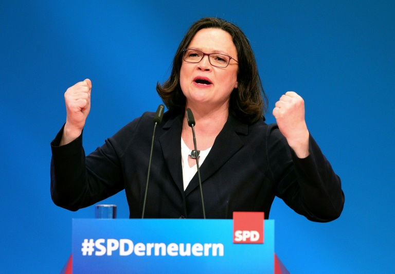 German Social Democrats elect Andrea Nahles as first female leader