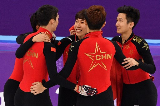 Chinese team claims silver in the men's 5,000m relay short track speed skating