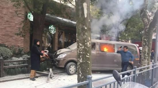 Multiple injured as burning van hits pedestrian in Shanghai