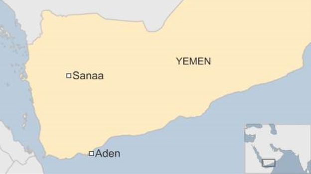 A map showing Aden and Sanaa in Yemen