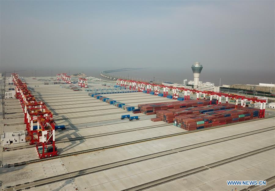 Image result for Shanghai port  xinhua